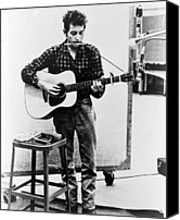 Music Tapestries Textiles Canvas Prints - Bob Dylan B. 1941 Playing Guitar Canvas Print by Everett