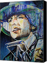 Singer Painting Canvas Prints - Bob Dylan Tangeled up in blue Canvas Print by Joshua Morton