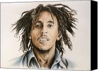Person Drawings Canvas Prints - Bob Marley Canvas Print by Andrew Read