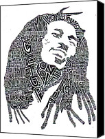 White Drawings Canvas Prints - Bob Marley Black and White Word Portrait Canvas Print by Smock Art