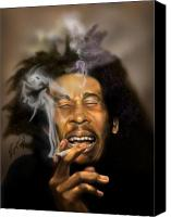 Player Canvas Prints - Bob Marley-Burning Lights 3 Canvas Print by Reggie Duffie