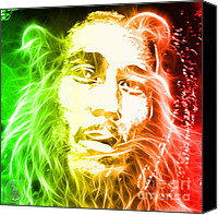 Lion Mixed Media Canvas Prints - Bob Marley Canvas Print by The DigArtisT