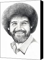 Famous Drawings Canvas Prints - Bob Ross Canvas Print by Murphy Elliott