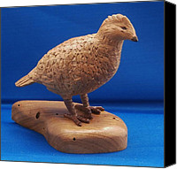 Game Sculpture Canvas Prints - Bob White Quail Canvas Print by Russell Ellingsworth