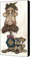 Caricature Mixed Media Canvas Prints - Bobblehead No 31 Canvas Print by Edward Ruth