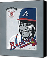 Mlb Painting Canvas Prints - Bobby Cox Portrait Canvas Print by Herb Strobino