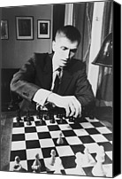 Chess Canvas Prints - Bobby Fischer 1943-2008 Competing At An Canvas Print by Everett