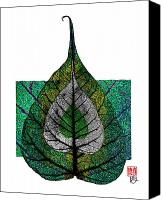 Spirituality Mixed Media Canvas Prints - Bodhi Leaf Canvas Print by Peter Cutler