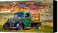 Sierra Canvas Prints - Bodie Ghost Town Green Truck Canvas Print by Scott McGuire
