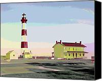 City Island Mixed Media Canvas Prints - Bodie Island Light Station Canvas Print by Charles Shoup