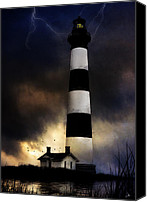 Storm Digital Art Canvas Prints - Bodie LIghthouse Canvas Print by Ron Jones