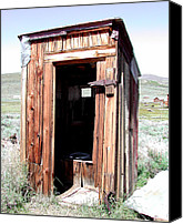 Old Wood Building Canvas Prints - Bodie Outhouse 2 Canvas Print by Lydia Warner Miller