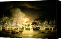 Ships Painting Canvas Prints - Bombardment of Algiers Canvas Print by Thomas Luny 