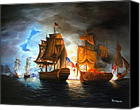 Paul Walsh Canvas Prints - Bonhomme Richard engaging The Serapis in Battle Canvas Print by Paul Walsh