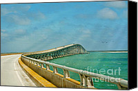 Waves Mixed Media Canvas Prints - Bonner Bridge - Highway 12 NC Canvas Print by Anne Kitzman