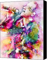 Bono Canvas Prints - Bono singing Canvas Print by Rosalina Atanasova