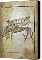 Griffin Canvas Prints - BOOK OF DURROW, c680 A.D Canvas Print by Granger