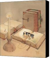 Reading Canvas Prints - Bookish Cow Canvas Print by Kestutis Kasparavicius