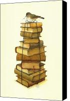 Books Canvas Prints - Books and little Bird Canvas Print by Kestutis Kasparavicius