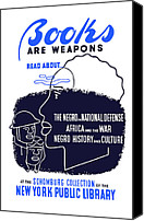 War Effort Canvas Prints - Books Are Weapons Canvas Print by War Is Hell Store