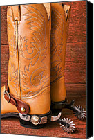 Cowboy Photo Canvas Prints - Boots With Spurs Canvas Print by Garry Gay