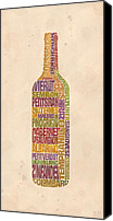 Mitch Frey Canvas Prints - Bordeaux Wine Word Bottle Canvas Print by Mitch Frey
