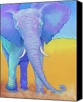 Elephant Pastels Canvas Prints - Born of Wisdom Canvas Print by Tracy L Teeter