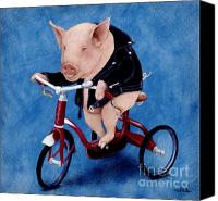 Pig Painting Canvas Prints - Born To Be Wild... Canvas Print by Will Bullas