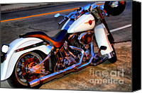 Made In The Usa Digital Art Canvas Prints - Boss Hog . Harley-Davidson .  7D12757 Canvas Print by Wingsdomain Art and Photography