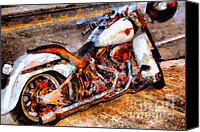 Made In The Usa Digital Art Canvas Prints - Boss Hog . Harley-Davidson .  Painterly . 7D12757 Canvas Print by Wingsdomain Art and Photography