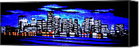 Skylines Painting Canvas Prints - Boston by Black Light Canvas Print by Thomas Kolendra