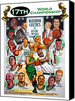 Nba Canvas Prints - Boston Celtics World Championship Newspaper Poster Canvas Print by Dave Olsen