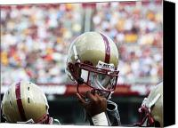 Team Canvas Prints - Boston College Helmet Canvas Print by John Quackenbos