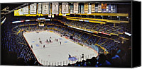 New York Rangers Painting Canvas Prints - Boston Garden Ice Canvas Print by T Kolendera