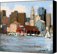 Motor Boats Canvas Prints - Boston Harbor Canvas Print by Laura Lee Zanghetti