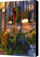 Boston Photo Canvas Prints - Boston Holiday Doorstep Canvas Print by Joann Vitali
