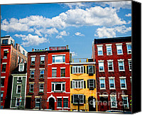 Old Houses Canvas Prints - Boston houses Canvas Print by Elena Elisseeva