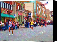 Athletes Canvas Prints - Boston Marathon Mile Twenty Two Canvas Print by Barbara McDevitt