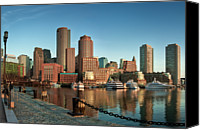 Morning Photo Canvas Prints - Boston Morning Skyline Canvas Print by Sebastian Schlueter (sibbiblue)