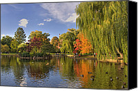 Boston Photo Canvas Prints - Boston Public Gardens Canvas Print by Joann Vitali