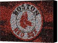 Bottle Caps Canvas Prints - Boston Red Sox Bottle Cap Mosaic Canvas Print by Paul Van Scott