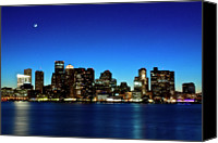 Waterfront Canvas Prints - Boston Skyline Canvas Print by By Eric Lorentzen-Newberg