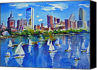 Boston Painting Canvas Prints - Boston Skyline Canvas Print by Diane Bell