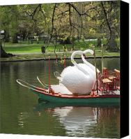 Bath Canvas Prints - Boston Swan Boats Canvas Print by Barbara McDevitt