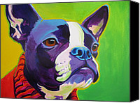 Boston Painting Canvas Prints - Boston Terrier - Ridley Canvas Print by Alicia VanNoy Call