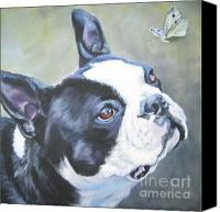 Boston Painting Canvas Prints - boston Terrier butterfly Canvas Print by Lee Ann Shepard