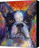 Cute Drawings Canvas Prints - Boston Terrier Impressionistic portrait painting Canvas Print by Svetlana Novikova