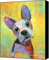 Austin Pet Artist Canvas Prints - Boston Terrier Puppy dog painting print Canvas Print by Svetlana Novikova