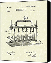 Wine Drawings Canvas Prints - Bottle Filling Machine 1903 Patent Art Canvas Print by Prior Art Design