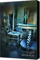 Haunted House Photo Canvas Prints - Bottle on Table in Abandoned House Canvas Print by Jill Battaglia